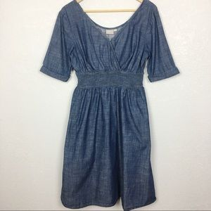 eShakti Elastic Waist Surplice Neck Chambray Dress